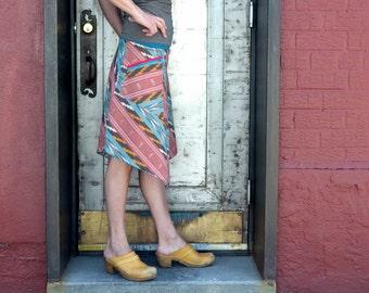 Womens Skirt, Ikat, Asymmetrical, Festival Skirt, Organic Bamboo, Zipper Pocket, Summer Fashion, Cargo Skirt, XS, Turquoise, Red, Midi Skirt
