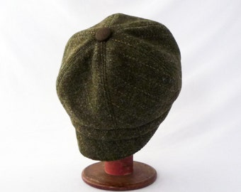 Women's Newsboy Hat in Olive Green Wool with Oaty Pin Stripes and Faux Suede Accents : Womens Hats, Fall Fashion, Newsboy Cap, Winter Style