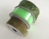 Green 3 Spools Nylon Wired Ribbon 1 1/2 inches wide