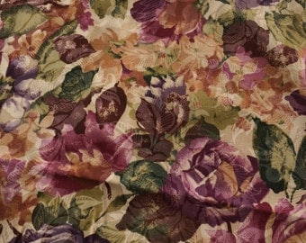 Floral fabric - 1 yard Tea Stained Look