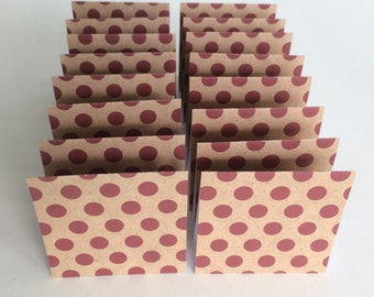 Mini Cards 16 Maroon Dot - 3 x 3