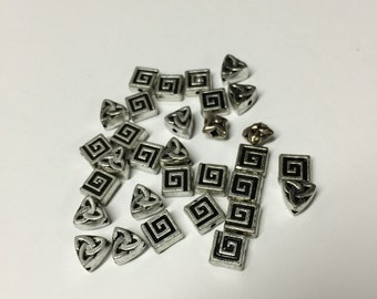 Destash spacer beads - acrylic - scroll - celtic knot