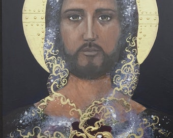 Christ original painting on wood, Sarah Pierzchala