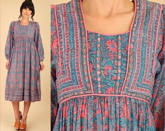 ViNtAgE 70's ZoDiAc Deadstock Indian Gauze Cotton Poet Slv. Gypsy Festival Dress HiPPiE BoHo Medium Large M L New Old Stock NOS