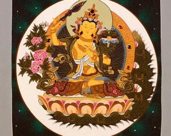 Traditional hand painted Thangka Painting Manjushree-Tibetan art-Buddhist Painting-Nepalese Art-Bodhisattva