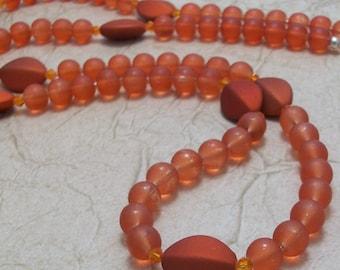 Satiny Orange Glass Lanyard Necklace