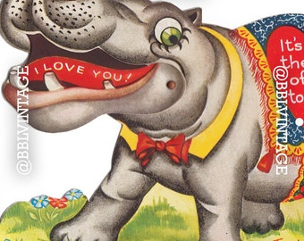Vintage Digital Greeting Card: Hippo Valentine - Digital Download, Printable, Scrapbooking, Image, Clip Art