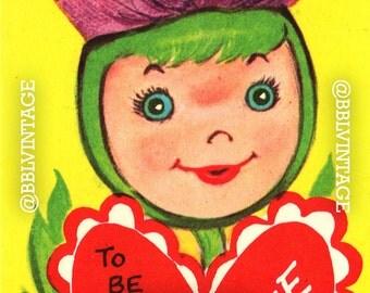Vintage Digital Greeting Card: Flower / Plant Girl Thistle Halloween Valentine - Digital Download, Printable, Scrapbooking, Image, Clip Art