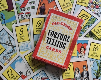Vintage Whitman 1940s Old Gypsy Fortune Telling Cards - Set of 36 Cards with Instructions and Original Box