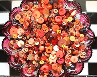 Buttons - Supplies - 100 Orange Buttons, Orange Vintage Button Lot, craft buttons
