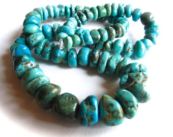 Complete strand of Turquoise organic rondelle stones - Graduated size - natural Chinese turquoise semiprecious stones 15 inch strand