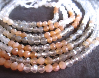 AAA Shaded Multi-Color Moonstone - faceted rounds semiprecious stone beads - 14 inch strand - 3.5mm