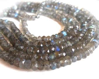 6 1/2 inch Strand of Faceted Labradorite 4mm X 2mm rondelles - beads - Blue Fire Flash