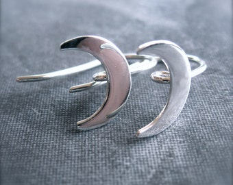 Moon Crescent Sterling Silver Ear Wires - french - hook style - hidden attachment