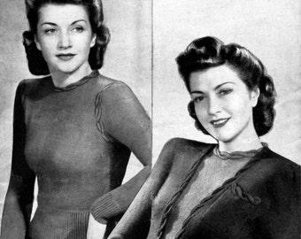 Vintage Ladies Cardigan and Jumper (Twin Set) Knitting Pattern, 1940s (PDF) Pattern, Weldons 321