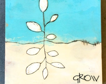 Original Encaustic Painting- Grow