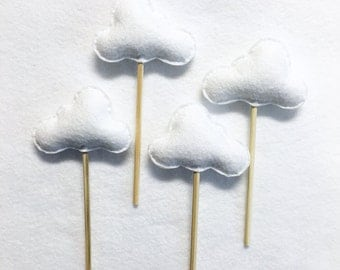 Cloud Cupcake Toppers, Cake Toppers, Glitter Clouds Made to Order, Custom Colors Available, Baby Shower, Garden Party, Wedding Toppers