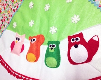 Tree Skirt, Christmas Tree Skirt, Sprinkles,  Bright Polka Dots, Fox, Squirrel, Owl, Bear, Whimsical, Felt Animal