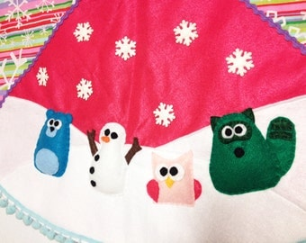Christmas Tree Skirt, Christmas Decoration, Tree Skirt, Woodland, Felt animals, Animals, Bear, Snowman, Stripes