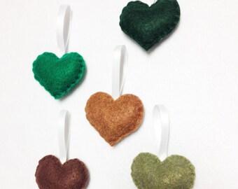 Heart Ornament, Felt Ornament Set - Greenery Sprinkle Hearts - Holiday Decoration