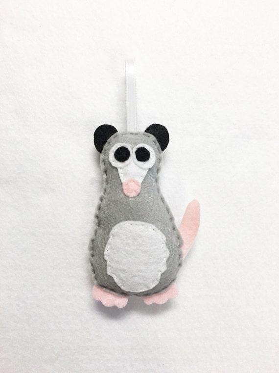 Possum Opossum Ornament, Christmas Ornament, Felt Animal Ornament - Made to Order, Patience the Possum