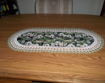 Crochet Table Runner, Panda Bears, Best Doilies, Handmade, Home Decor, Dresser Scarf, Centerpiece, Lace Runner, Oval Table Topper, Gift
