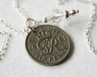 Lucky Sixpence Charm Necklace 1951