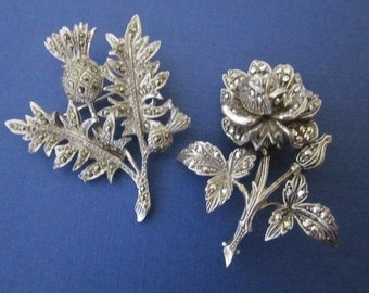 Silver and Marcasite Flower and Thistle Brooches
