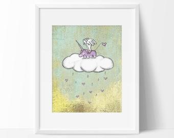 Unicorn Nursery Art Print for Baby Girl Wall Art Print for Baby Girl Pastel Pink and Purple Coulds and Hearts Nursery Art Print