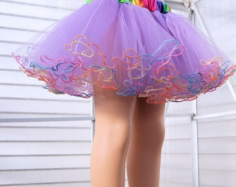 Pastel Lavender Rainbow Piped Costume TuTu Crinoline Skirt MTCoffinz --- Child Size 4 - 8 - Ready to Ship