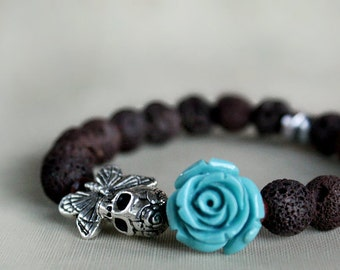 Skull Bracelet, Stretch Bracelet, Flower Bracelet, Gift For Her, Gift Ideas, Gift For Girlfriend, Modern, Goth, Rocker Chic, Gothic Jewelry