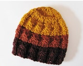 Sale Knitted Hat - Hand Knit Hat - the Ada Hat in Autumn Blaze - Burgundy Red, Paprika Orange, Mustard Yellow - Sunset Colors,  Autumn Leave