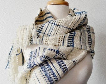 Blanket Scarf Hand Woven Winter Tribal Bohemian Scarf - Texture, Lace Detail, Blue and White, Woven Women's Fashion, X Large Handmade Scarf