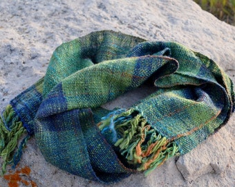Lake Owen Scarf - Handspun Handwoven Traditional Scarf in Merino Wool, Sparkle, Bamboo. Textured Woven Long Fringed Scarf in Blue and Green