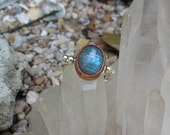 Ready to ship, Labradorite Ring, Sterling Silver and Copper, Natural Jewelry, Mixed Metal, Handmade