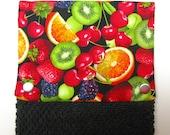 NEW! Towel, Hanging towel,Hand towel,  Kitchen towel, bathroom towel, oven, snap on towel, guest towel,  camper, Fresh fruit on black