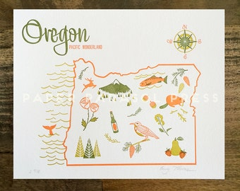 Oregon State Letterpress Print 8x10