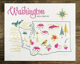 Washington State Letterpress Print 8x10