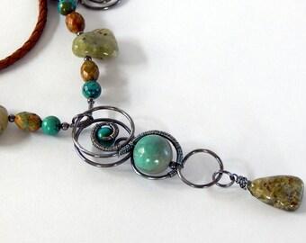 Turquoise Necklace Statement Necklace Boho Necklace Boho Jewelry Gemstone Necklace Layering Necklace Turquoise Jewelry Gift For Her