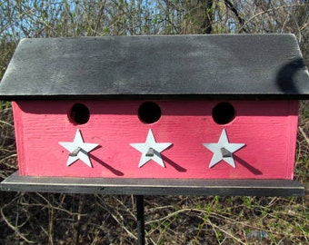 Primitive  Country Three Hole Birdhouse Separate Compartments Red Black White Stars