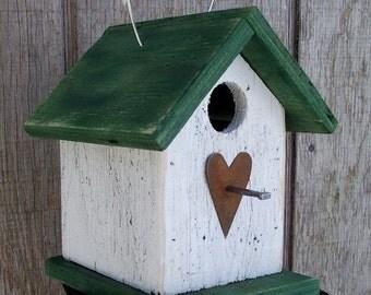 SUMMER SALE Birdhouse  Primitive White Green Chickadee Wren Cute Songbirds Rusty Heart