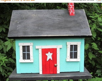 SUMMER SALE Country CabinTurquoise Functional Birdhouse Home Decor Chimney Red Door