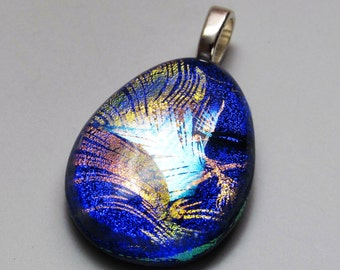 Dichroic Glass Jewelry - Feather Pendant - Fused Glass Jewelry - Feather Necklace - One Of A Kind - Glass Art