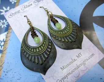Bohemian earrings tribal earrings black earrings bohemian jewelry patina jewelry
