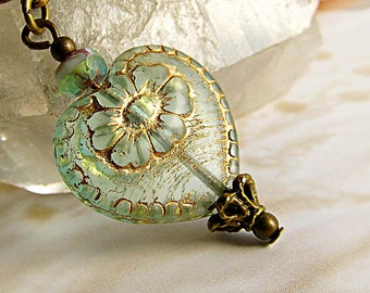 Valentine jewelry Aqua heart necklace afforable Gift for her Victorian jewelry
