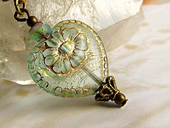 Aqua heart necklace Gift for her simple Victorian jewelry