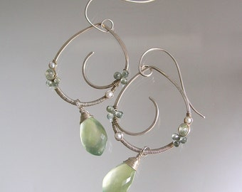 Prehnite Sterling Earrings, Sculptural Silver Dangles, Blue Sapphires, Wire Wrapped, Artist Made, Soft Green, Original Design, Signature