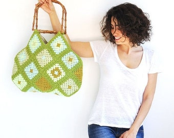 20% WINTER SALE Granny Sguare Afghan Colorful Croched Handbag - Neon Green Mint Citrine Green by AFRA
