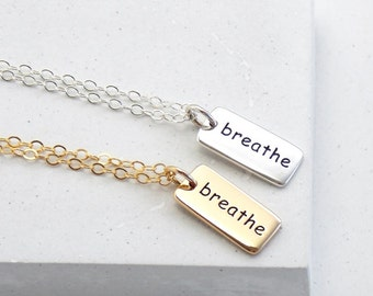 Inspirational Word Necklace | Breathe Necklace | Breathe Charm | Yoga Jewelry | Word Charm Necklace | Silver or Gold