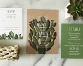 Sample - Boho Desert Cactus Wedding Invitation, southwestern wedding invitation, succulent wedding invitation